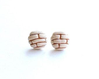 White concha earrings (pan dulce earrings, mexican sweet bread earrings)