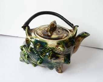 Majolica Conch Shell Teapot with Wire Wrapped Handle