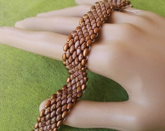 Snake skin beaded bracelet gold and brown beads brass magnetic clasp.