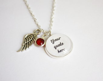 Custom quote necklace. Your quote here. Photography necklace. Special gift for her. Bestfriends. Book jewelry. Booklovers gift. Song quote