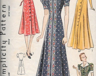 Vintage 1930s Simplicity Sewing Pattern 2879 - Misses' Dress or Housecoat size 18 bust 36