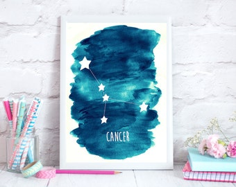Cancer Zodiac Constellation– Wall Art - Alcohol ink/Mixed Media Poster Print