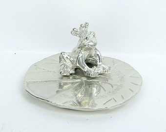 One Kiss Can Change Everything Frog Prince Ring Holder - Handcrafted Pewter Ring Stand - Disney Princess Engagement and Wedding -Made in USA