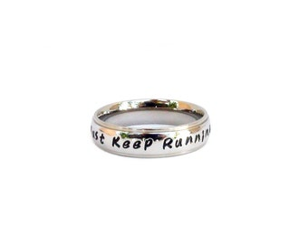 Just Keep Running Inspirational Ring Stainless Steel Jogger Marathon Runner Jewelry Ring Gift For Runner