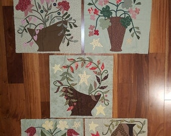 5 Beautiful Hand Sewn Applique Whimsical Quilt Squares