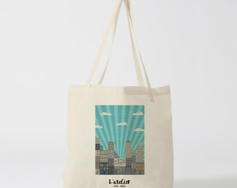 X412Y Blue Sky City bag Tote, bag canvas, cotton bag, purse, tote bag, shopping bag, bag of course, computer bag, shoppin