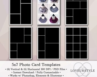 5x7 Photo Template Pack, 12 Templates, Photo Collage, Photo Card Templates, Photoshop, Personal and Commercial Use, Instant Download