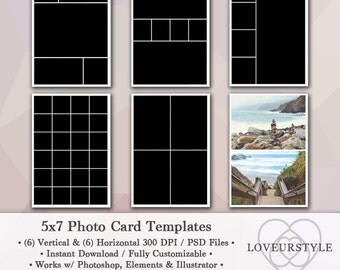 5x7 Photo Template Pack, 12 Templates, Photo Collage, Photo Card Templates, Photoshop, Personal and Commercial Use