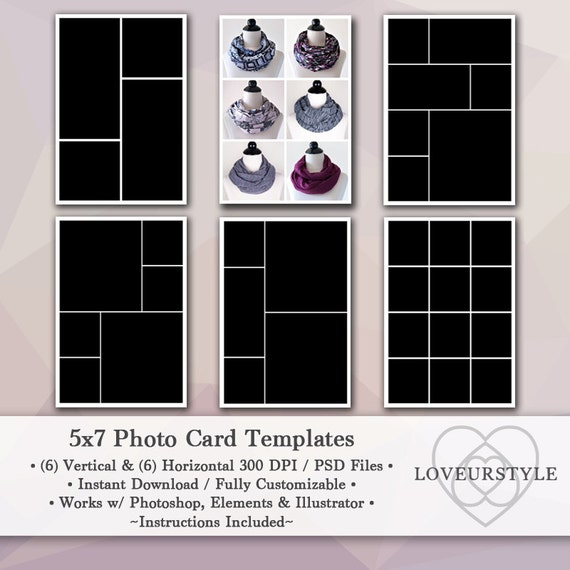5x7 photo template pack 12 templates photo collage photo. Black Bedroom Furniture Sets. Home Design Ideas