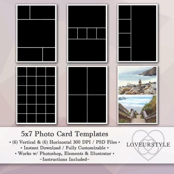 5x7 photo template pack 12 templates photo collage photo card templates photoshop personal. Black Bedroom Furniture Sets. Home Design Ideas