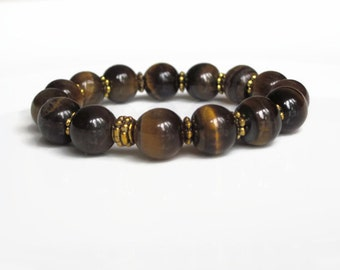 Mens bracelet, Tigers Eye bracelet, mens gift idea, boyfriend gift, mens beaded bracelet, mens jewellery uk, mens jewelry