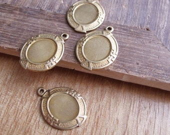 4pcs Oval Cabochon Setting in Raw Brass 10x9mm - CB-53FVS-53, Setting for Jewelry Making