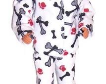His Doll Clothes-Dog Bones Print Flannel Pajamas
