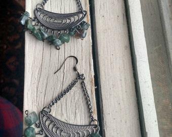 Green Stone Chandelier Earrings ***Free US Shipping***