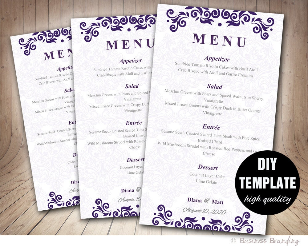 Purple menu card template diy wedding menu card 4x7purple for Wedding menu cards templates for free