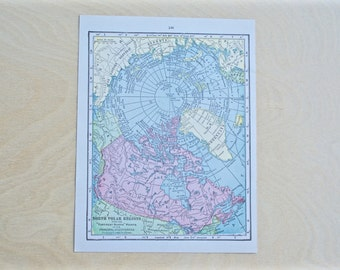 1925 - North Pole Map - Antique Cram's Atlas Map - Vintage North Pole Map - Old Atlas Map - Small Antique Map
