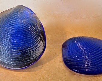 Two Glass Seashell Paperweights