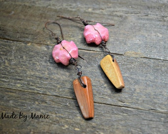 Rustic Assemblage Earrings, Boho, Gypsy, Pink Sponge Coral and Wood Spikes, Extra Long Handmade Artisan Earrings, Eco Friendly, Dark Copper,
