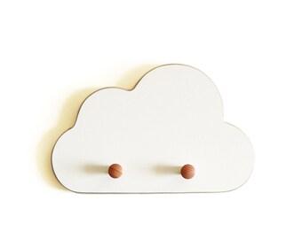 White cloud Wall Hooks , formica , birch , nursery room , room decor