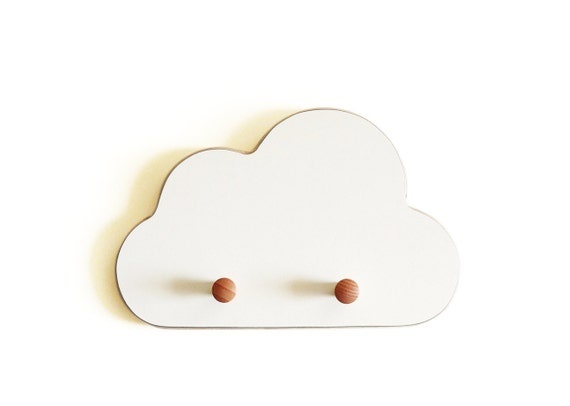 White cloud Wall Hooks , formica , birch , nursery room , room decor