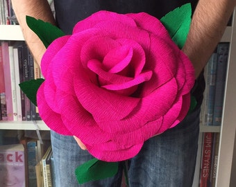 Giant crepe paper rose - hand made - 28cm diameter - Cyclamen, perfect for Weddings, Birthdays, Valentines