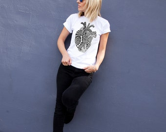 Anatomy Heart T-shirt. Graphic tee. Mothe's day gift. Gift for her and him. Gift for doctor. White tshirt. Hand drawn design. Zentangle art.