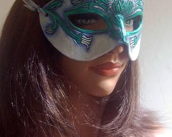Lady of April Diamond and Daisy Leather Mask - Limited Edition 1 of 10 Birthstone Birth Flower Art Nouveau Mardi Gras Masquerade Wedding