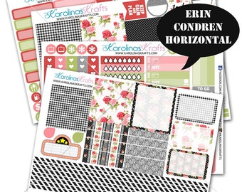 Shabby Rose Floral Planner Stickers 200+ for Erin Condren Horizontal Planner Sticker kit, for Erin Condren Weekly Kit #SQ00897-ECH