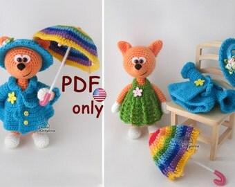 Fox with umbrella, amigurumi crochet pattern