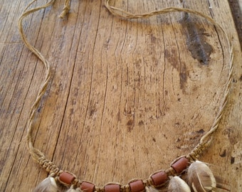 Cowrie shell and feather hemp necklace