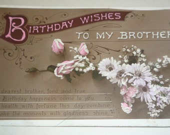 Birthday Wishes to My Brother Antique Postcard