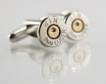 Bullet Cufflinks for Men - Valentines Gift Ideas for Men - Gifts for Boyfriend - Gifts for Police Officer - 9mm Cuff Links - Cuff links