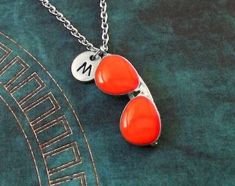 Sunglasses Necklace Glasses Necklace Summer Necklace Summer Jewelry Orange Sunglasses Charm Necklace Sunglasses Pendant Necklace Monogram
