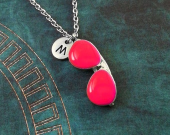 Sunglasses Necklace Glasses Necklace Summer Necklace Summer Jewelry Pink Sunglasses Charm Necklace Sunglasses Pendant Necklace Monogram