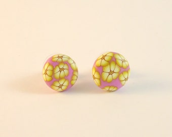 Polymer clay studs earrings. Handmade button earrings. Millefiori studs earrings. Clay jewelry foral style. Unique design button earrings.