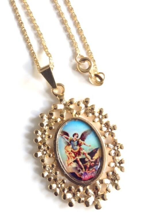 archangel michael medal necklace archangel st michael gold