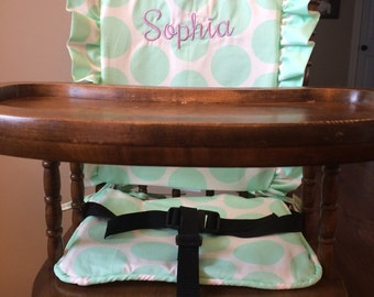 Wooden Highchair Cover/Highchair Cover Cushion/Pad: Fancy Dot/Mint Cushion for wooden/vintage highchairs.