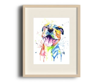pit bull art, pit bull painting, pit bull print, pit bull watercolour, dog art, dog print, dog painting, pet art, pet portrait