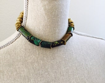 Turquoise necklace with brass spacer + ring beads