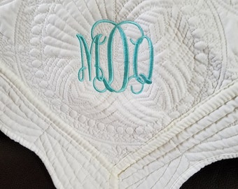 Heirloom Baby Quilt  / Monogrammed-NOW ON SALE