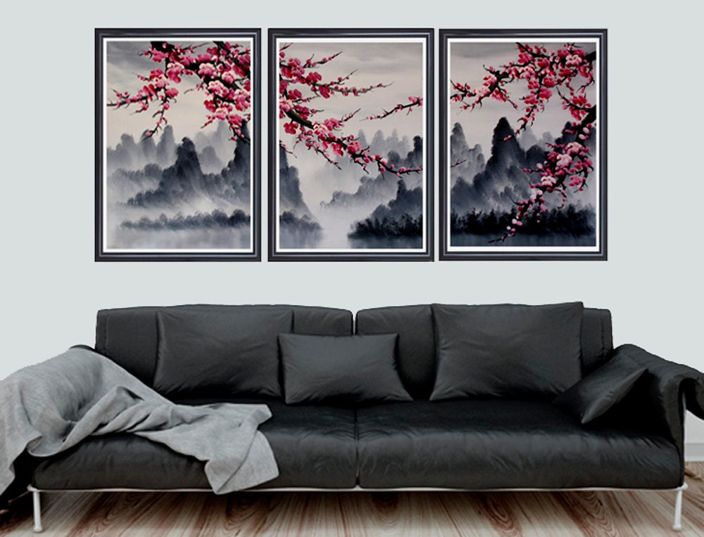 cherry blossom art cherry blossom wall mural cherry by loft817. Black Bedroom Furniture Sets. Home Design Ideas