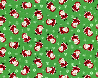 Santa Claus Fabric, Timeless Treasures Mini C2250 Green, Tossed Mini Santas Fabric, Cotton Christmas Fabric, Red & Green Christmas