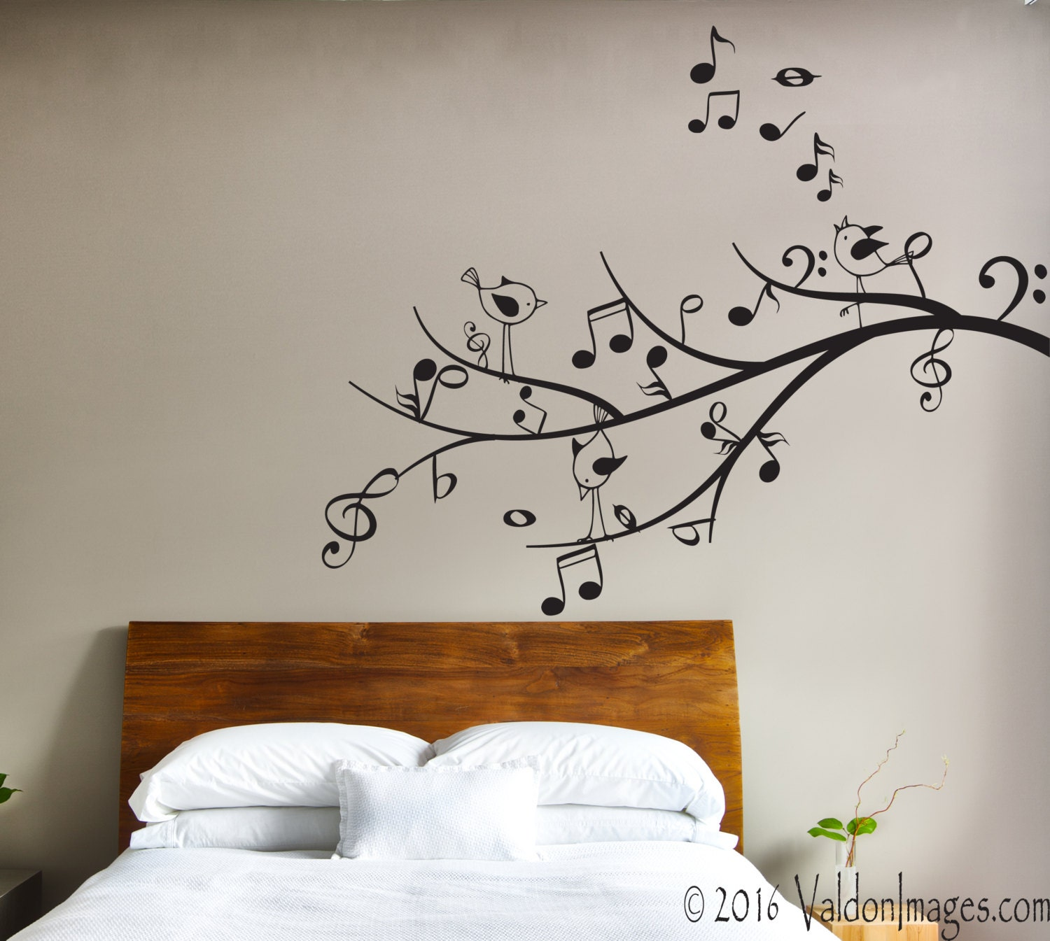 Music Tree Wall Decal, Bird Wall Decal, Music Decor, Living Room Wall Decal Part 79