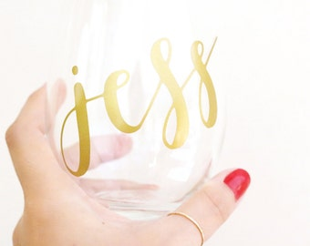 hand lettered calligraphy wine glass // custom name