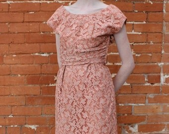 Home Sewn Vintage 1950s Lace Overlay Dress