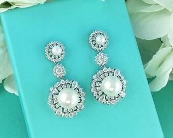 Sparkle cz earrings, pearl bridal earrings, cubic zirconia earrings, wedding jewelry, wedding earrings, bridesmaid jewelry 273013690
