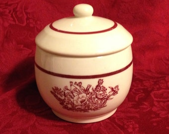 Wallace China Lidded Sugar Bowl, Cream with Maroon Flowers and Stripe, Maroon Floral Sugar Bowl, Burgundy Floral Sugar Bowl, Wallace China