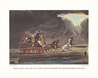 Carriage driving Mail Coach in a Thunderstorm on Newmarket Heath horse drawn vintage print illustration home office décor 9.5 x 7 inches