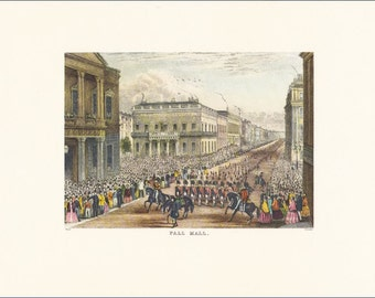 Victorian London Pall Mall parade vintage print coloured engraving 7 x 9.25 inches