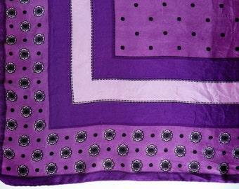 Vintage 60s purple scarf - vibrant colours squares pattern